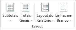 Grupo layout na faixa de opções