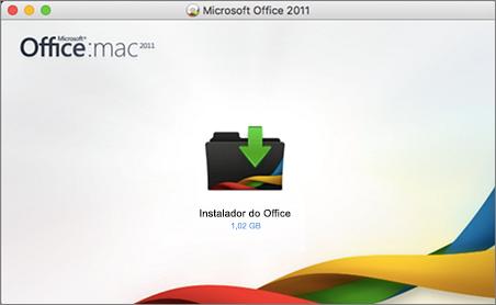 Captura de tela do instalador do Office para o Office for Mac 2011