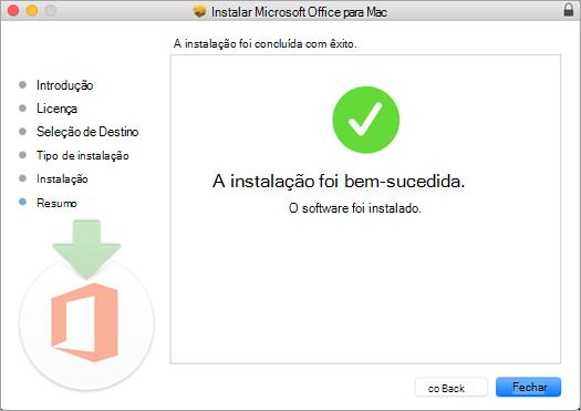 Mostra a página final do processo de instalação, indicando que a instalação foi bem-sucedida.