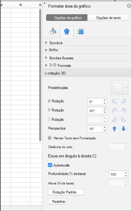 Painel do Formatar área do gráfico