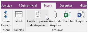 Captura de tela do botão Cópia Impressa de Arquivo no OneNote 2016.