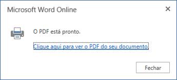 Caixa de diálogo de impressão do Word Online