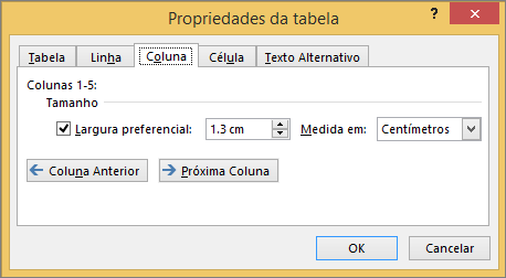 Guia de coluna na caixa de diálogo Propriedades da tabela