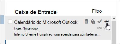 Uma captura de tela da opção Fixar na lista de mensagens