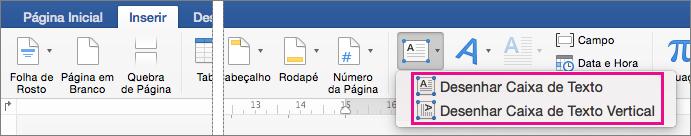 Clique em caixa de texto para inserir uma caixa de texto com texto horizontal ou vertical.