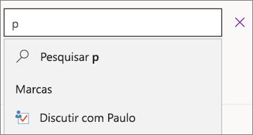 Caixa de pesquisa com p e resultados mostrando Discutir com Paulo