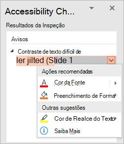 Menu suspenso para um problema no Verificador de Acessibilidade, mostrando as listas de Ações Recomendadas e Outras Sugestões