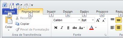 A Faixa de Opções do Visio 2010, com as Dicas de Teclas exibidas.