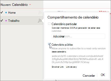 Configurações de calendário público no iCloud