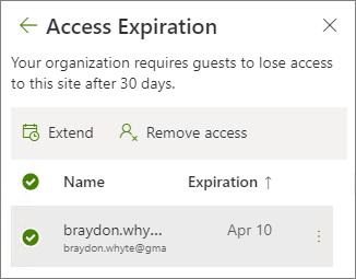 Captura de tela de opções de estender e remover acesso para acesso de convidado em vencimento