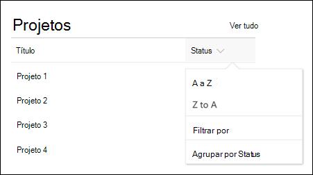 Web part de lista com classificação, filtro e menu de grupo