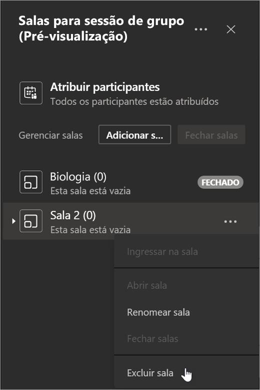 Adicionar botão de sala nas Salas Para Sessão de Grupo e excluir o espaço selecionado no menu Mais opções.