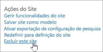 Menu de configurações de site com excluir este site realçado