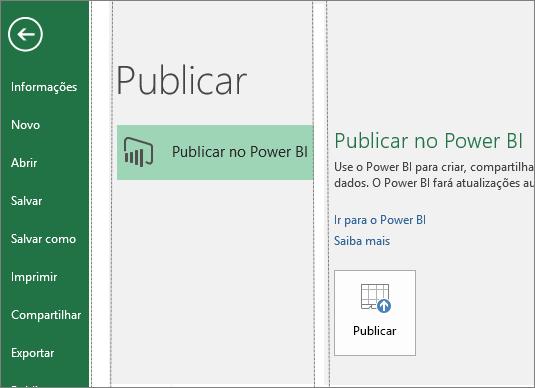 Guia Publicar no Excel 2016 mostrando o botão Publicar no Power BI