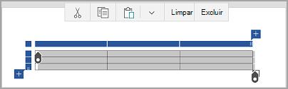 Barra de comando de tabela do Windows Mobile