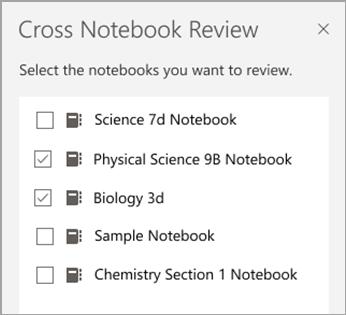 Seleção de bloco de anotações de revisão cruzada.