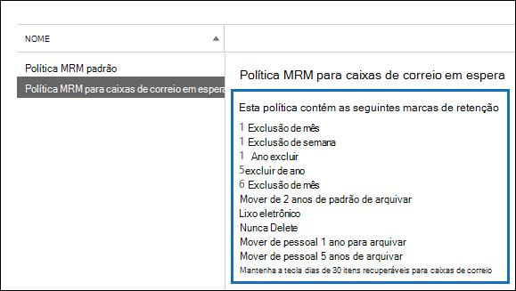 Marcas de retenção vinculadas à política de retenção são exibidas no painel de detalhes
