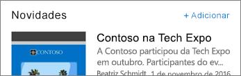Captura de tela mostrando o link Adicionar