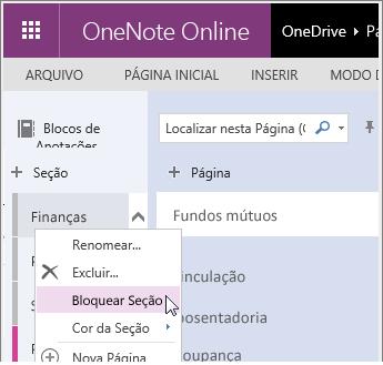 Captura de tela que mostra como bloquear novamente uma seção no OneNote Online.