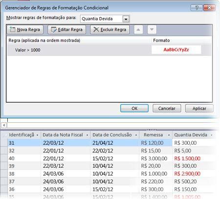 Regra de formatação condicional juntamente com uma exibição do formulário no modo layout com a formatação aplicada.