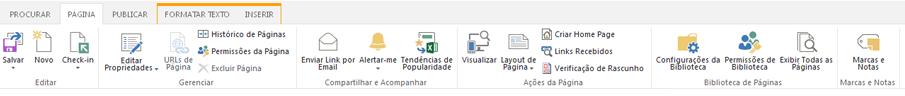 A captura de tela da guia Página contém vários botões para editar, salvar, fazer check-in e check-out das páginas de publicação