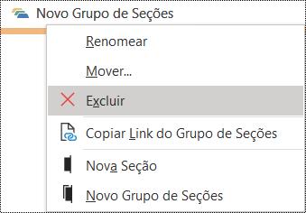Caixa de diálogo Excluir grupo de seções no OneNote para Windows
