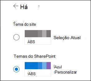 Selecione um novo tema para seu site do SharePoint