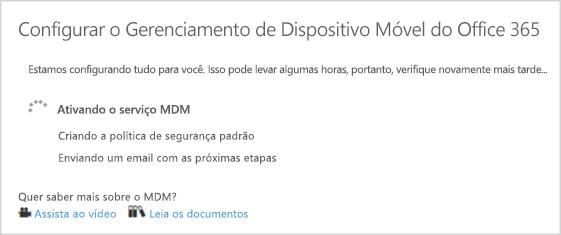 Progresso de configuração do MDM