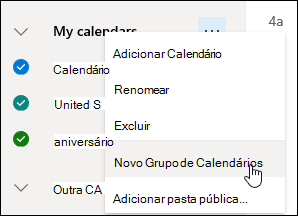 Uma captura de tela do botão Novo Grupo de Calendário