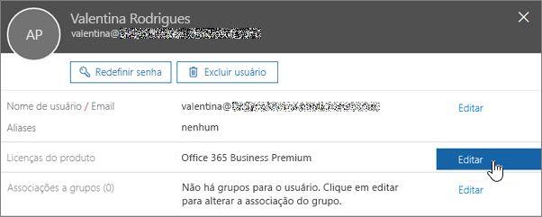 Captura de tela mostrando a ação de editar licenças de produto