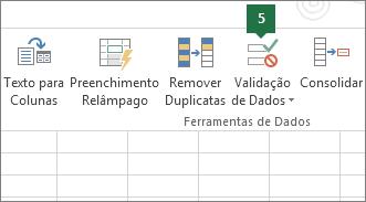 Validar a lista suspensa clicando em Dados > Validação de Dados no Excel