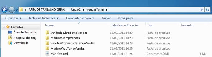 Captura de tela do Windows Explorer que mostra um Pacote de Solução da Web descompactado (.wsp).