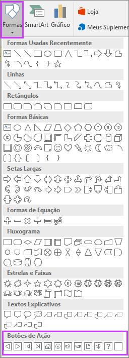 Mostra o menu Formas na faixa de opções do PowerPoint com Botões de Ação realçados