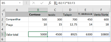 Um exemplo de fórmula de matriz calculando vários resultados