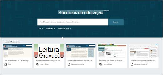 Segunda versão da tela principal do OneNote EDU recursos