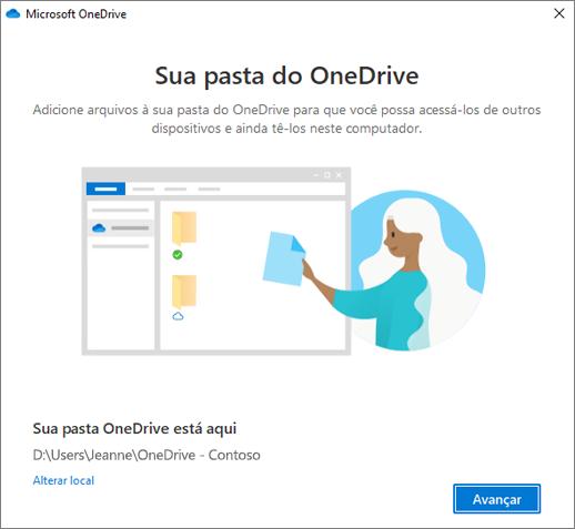 Esta é sua pasta do OneDrive no assistente Bem-vindo ao OneDrive