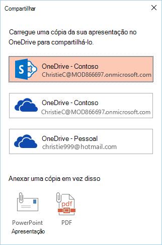 Se você ainda não tiver salvo sua apresentação no OneDrive ou no SharePoint, você será solicitado a fazer isso.