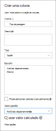 Exemplo de configuração de uma coluna para as categorias de notícias