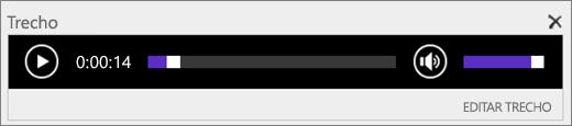 Captura de tela do SharePoint Online com a barra de controle de áudio Trecho mostrando a duração total de um arquivo de áudio, e fornece o controle para iniciar e parar a reprodução do arquivo.