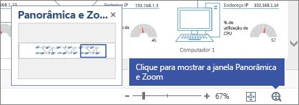 """A janela """"Panorâmica e Zoom"""" exibida na parte superior de um diagrama."""