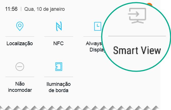 Em Configurações Rápidas, procure o Smart View e toque nele para abri-lo