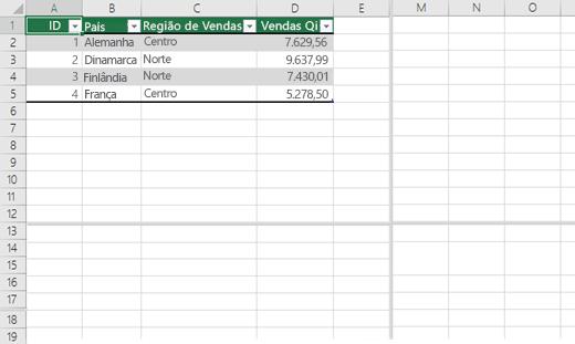 Dividir painéis em uma pasta de trabalho do Excel