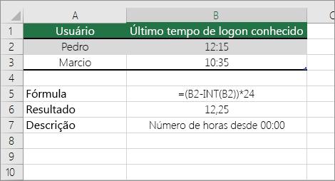 Exemplo: conversão de horas de formato de hora padrão em número decimal