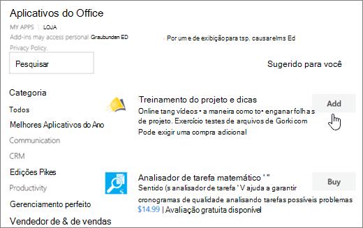 Captura de tela da página suplementos do Office no repositório onde você pode selecionar ou procure um suplemento do projeto.