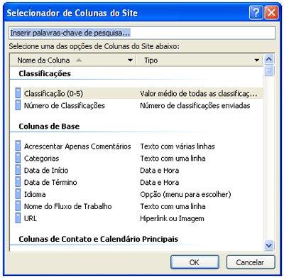 Caixa de diálogo Selecionador de Colunas de Site