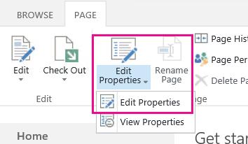 Guia de página aberto à faixa de opções com editar propriedades realçado