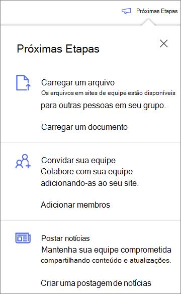 O painel próximas etapas após a criação de uma nova biblioteca compartilhada no OneDrive for Business