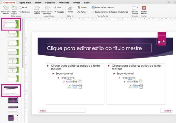 Apresentação com dois slides mestres