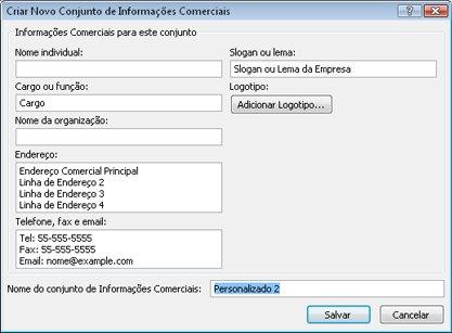 Criar novo conjunto de informações comerciais no Publisher 2010