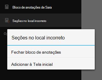 O comando Fechar bloco de anotações no OneNote para Android